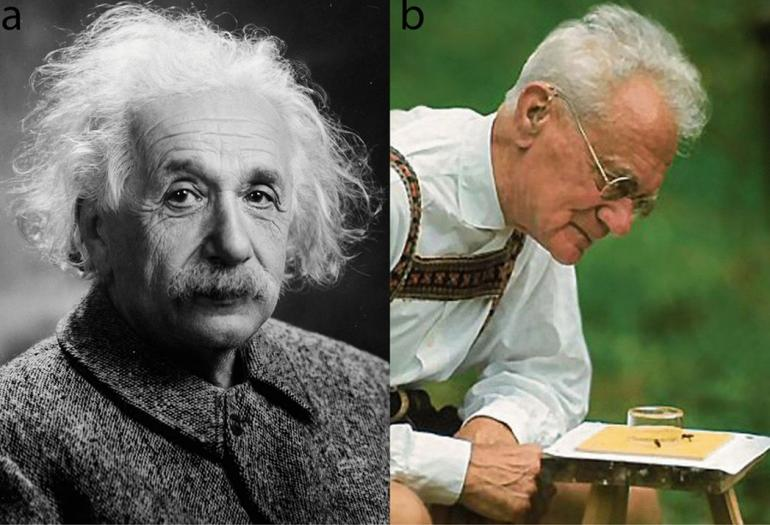 Alberts Einstein dan Karl von Frisch. Photo: Wikipedia