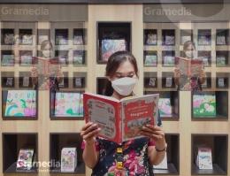 Ilustrasi toko buku Gramedia mengantarku jadi penulis - Instagram @gramedia_jogjasudirman