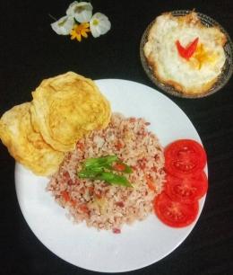 Saran penyajian nasi goreng kornet (dokpri)