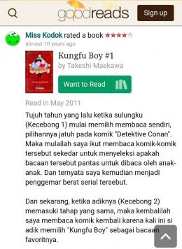 Review Miss Kodok / Bunda tentang kungfu Boy (Sumber Gambar : Screen Capture dari Good Reads)