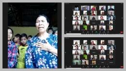 Tangkap layar dari zoom meeting. Kiri : Ibu Lina Pajong dan anak-anak PA Pelayanan Kasih. Kanan : Peserta dan panitia kunjungan. (Foto : dok. istimewa)