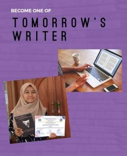 Ilustrasi menjadi penulis (sumber: kreasi penulis menggunakan flyer maker dan jawapos.com)