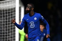 Selebrasi gol Antonio Rudiger Pemain Chelsea . Sumber : Premier League