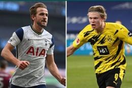 Harry Kane dan Erling Haaland, dua pemain yang sempat masuk radar Chelsea (sumber: kompas.com)