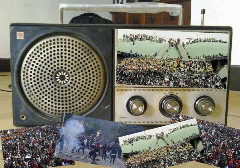 Ilustrasi Radio Tua dan Kudeta ; Kolaborasi foto detik, kompas dan RDK UIN