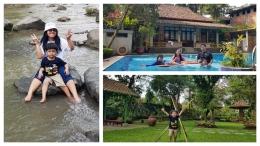 Beberapa aktivitas liburan keluarga kami : main di sungai, berenang, dan jalan-jalan di kebun (Foto : dokpri)