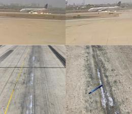 Screenshots of security / CCTV cameras footages, and marks on runway