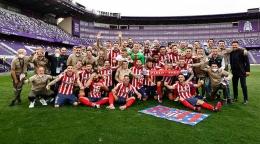 Atletico Madrid merayakan gelar juara Laliga 2020/2021. (via twitter.com/atleti)
