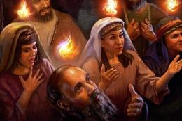 Ilustrasi kehadiran Roh Kudus atas para rasul. Foto: gbibumianggrek.com.