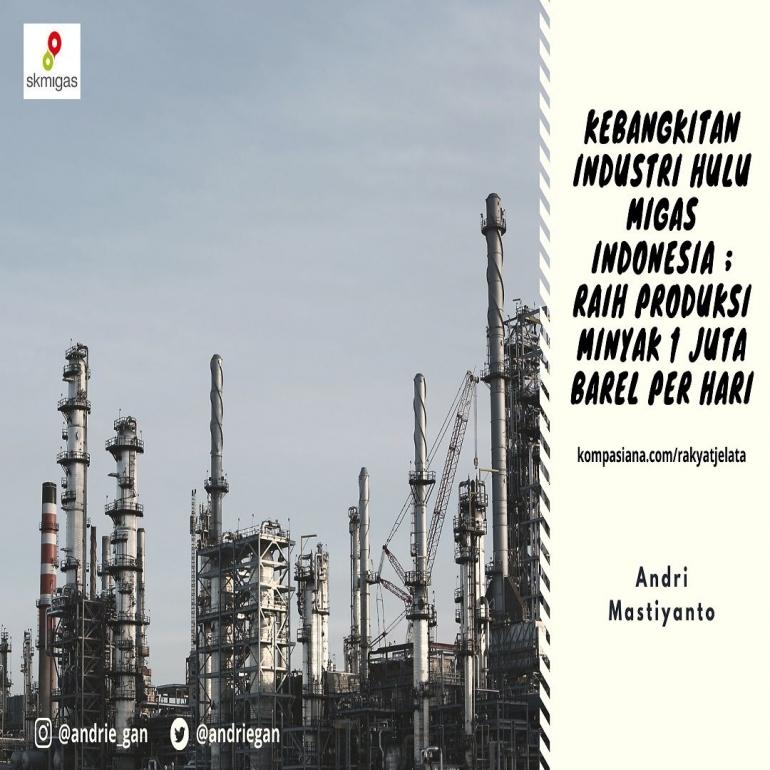 Deskripsi : Kebangkitan Industri Hulu Migas Indonesia ; Raih Produksi Minyak 1 Juta Barel per Hari I Sumber Foto : dokpri design by canva
