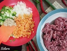 Ilustrasi bahan isian yang terdiri dari daging cincang, wortel, bawang bombay, daun bawang iris dan bumbu halus (bawang putih, lada dan garam)   Dokumentasi pribadi