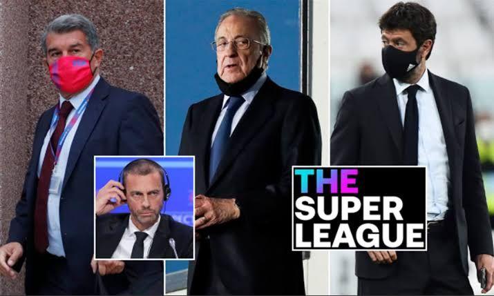 Dari kiri ke kanan: Joan Laporta (Presiden Barcelona), Florentino Perez (Presiden Real Madrid) dan Andrea Agnelli (Pemilik Juventus). Inset: Alexander Ceferin (Presiden UEFA). Sumber gambar (Dailymail.co.uk)