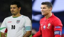 Ali Daei dan Cristiano Ronaldo (inews.id)