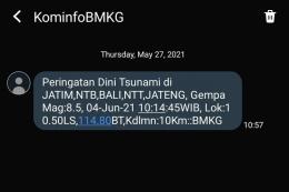 Peringatan BMKG dinyatakan palsu. Ini bukan kali pertama peringatan palsu memunculkan kegemparan di dunia (tangkapan layar Twitter via kompas.com)
