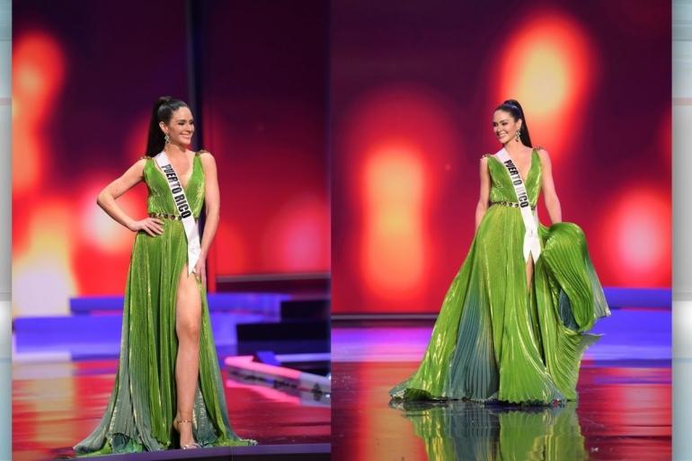 Miss Universe Puerto Rico dengan gaunnya yang menyerupai daun pisang. - IG Estefania Sototorres