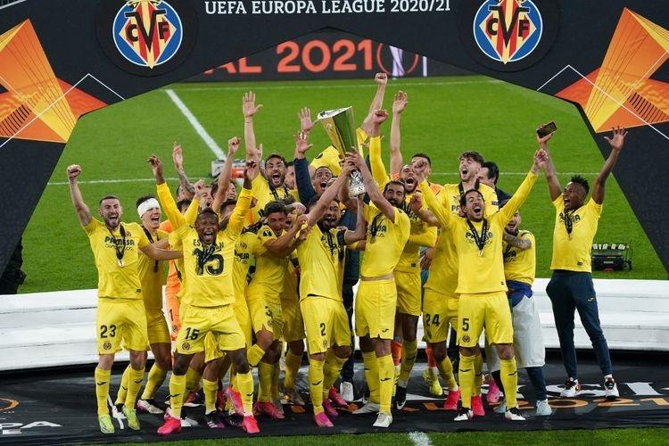 Villarreal mengalahkan Manchester United di partai final Liga Europa, Kamis (27/5/2021) dini hari WIB.(AFP/JANEK SKARZYNSKI via KOMPAS.com)