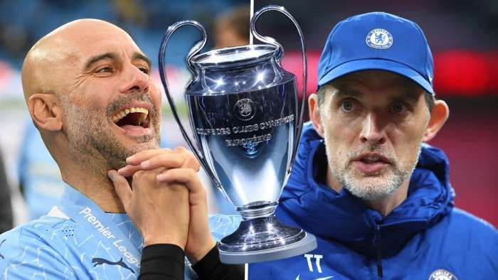 Pep Guardiola dan Thomas Tuchel beradu taktik dalam final Liga Champions 2021 (Foto Getty Images)