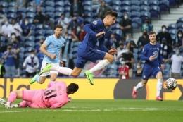 Kai Havertz mencetak gol tunggal ke gawang City yang membawa Chelsea meraih juara Liga Champions (Foto AFP/Carl Recine via Kompas.com)