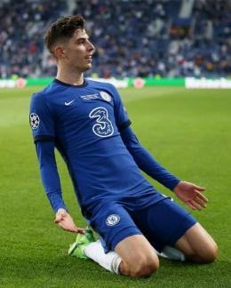 Selebrasi Havertz setelah berhasil mencetak gol | Sumber: www.instagram.com/chelseafc