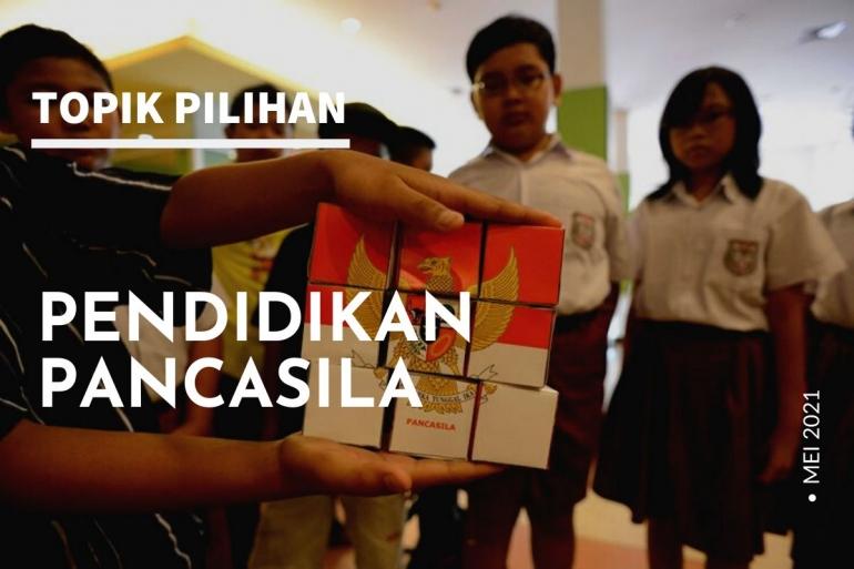 Ilustrasi pendidikan Pancasila. (Diolah Kompasiana dari foto: KOMPAS/FERGANATA INDRA RIATMOKO)