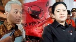 Ganjar Pranowo dan Puan Maharani, puteri Megawati. Konon Puanlah yang diusung jadi Calon Presiden, bukan Ganjar. Sumber gambar tribunnews.com