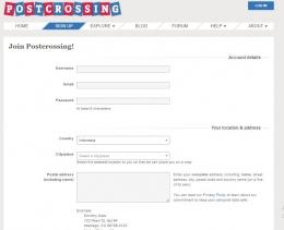 Mendaftar akun Postcrossing | ilustrasi: postcrossing.com/signup