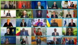 Beberapa perwakilan kepala negara-negara dalam KTT P4G via daring.