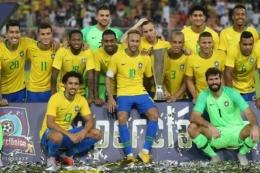 Timnas Brasil pada 2018 | Foto AFP via Kompas.com