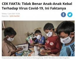Menurut American Academy of Pediatrics (AAP), jumlah anak-anak yang terinfeksi Covid-19 di beberapa negara bagian di Amerika Serikat baru-baru ini, mencapai 22,4 persen, lebih tinggi dibandingkan dari tahun 2020, saat pandemi baru terjadi, yakni sebesar 3 persen. Foto: capture laman merdeka.com