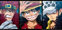 Kid, Luffy, dan Law, aktor utama perang Wano di One Piece 1015 (deviantart.com)
