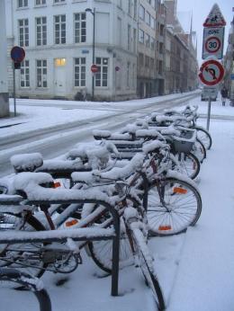 Sepeda jengki sederhana para pelajar di Belgia terparkir di tepi jalan di suatu pagi musim dingin (Dok.pri)