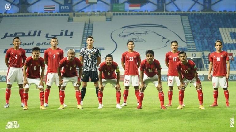 Skuad Garuda saat akan melakoni laga melawan Thailand di Stadion Al-Maktoum, Dubai | Sumber: www.instagram.com/pssi