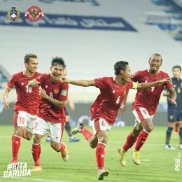 Perayaan gol setelah Evan Dimas berhasil mencetak gol penyeimbang | Sumber: www.instagram.com/pssi