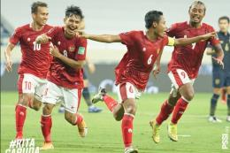 Evan Dimas merayakan gol ke gawang Thailand pada laga Kualifikasi Piala Dunia 2022 Zona Asia di Dubai, UEA, pada Kamis (3/6/2021) malam WIB.(PSSI)