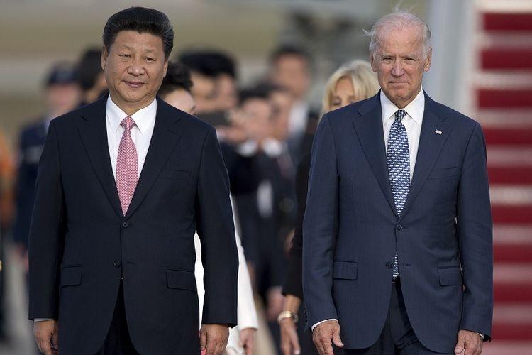 Joe Biden dan Xi Jinping. Sumber: AP/Carolyn Kaster via Kompas.com