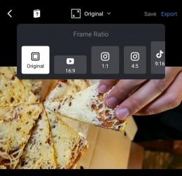 Kamu bisa mengatur preset ukuran output video yang kamu edit. Sumber : tangkapan layar VN