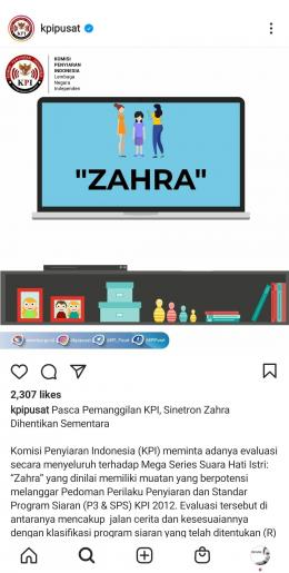 tangkap layar dari akun instagram @kpipusat