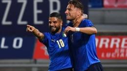 Insigne dan Immobile menjadi andalan depan Italia di Piala Eropa 2020. Sumber foto: Getty Images via Goal.com