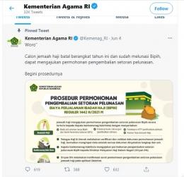 Postingan akun twitter @Kemenag_RI yang menuai kecaman (tangkapan layar pribadi)