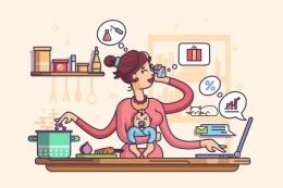 Ilustrasi perempuan dengan kemampuan multitasking. (sumber: SHUTTERSTOCK/KIT8.net via kompas.com)