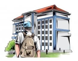 Ilustrasi Calon Mahasiswa Baru di depan Kampus. Sumber: Radar kediri