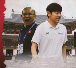 Pelatih asal Korea Selatan Park Hang-seo dan Shin Tae-yong, sumber gambar ; bola.com