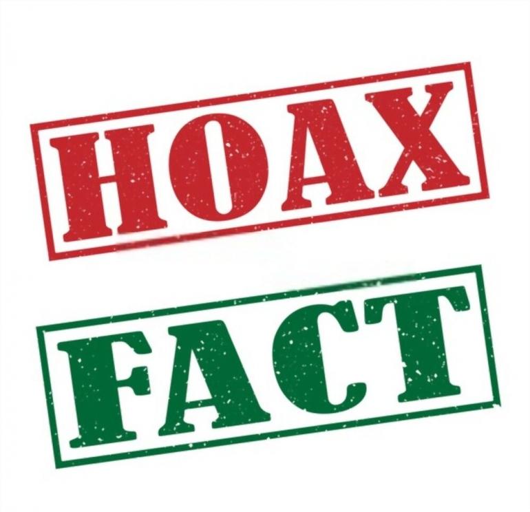 ilustrasi. hoax fact stamp text on white/shutterstock
