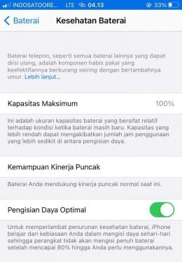 Battery health iphone. Sumber : screen shoot hape pribadi