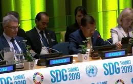 Jusup Kalla pada SDG Summit 2019 di New York (sumber Kemenlu.co.id)