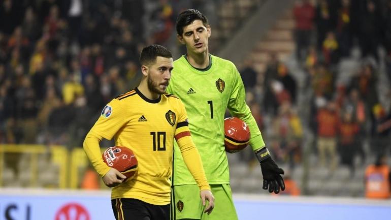 Kapten tim Belgia, Eden Hazard (kiri) akan memimpin negaranya menghadapi Rusia di pertandin
