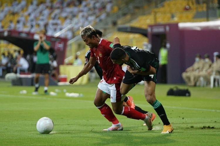Laga timnas Indonesia vs UEA pada Kualifikasi Piala Dunia 2022 Zona Asia di Stadion Zabeel, Dubai, Jumat (11/6/2021) malam WIB. (Foto: PSSI via Kompas.com)