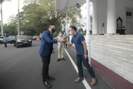 Kunjungan Ketum Demokrat AHY ke Bandung, saat bertemu dengan Gubernur Ridwan Kamil, 4/6/2021 (Humas Pemprov Jabar).