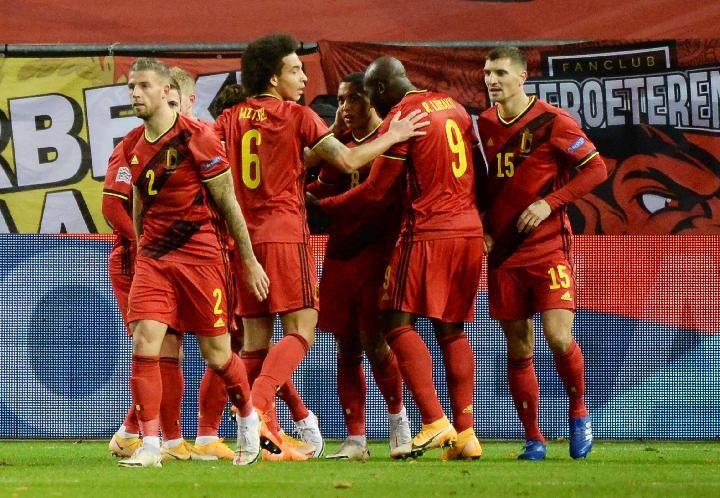 Selebrasi pemain Belgia usai memenangkan laga 3-0 atas Rusia di Piala Eropa (Euro 2020). Bola-Tempo.co