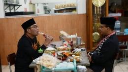 Gubernur Jabar Ridwan Kamil bersama Gubernur DKI di sebuah warung makan di Sumedang, 11/6/2021 (detik.com).